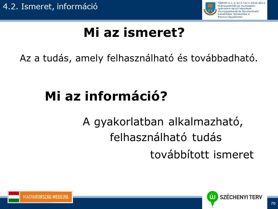 Mi az ismeret Mi az információ