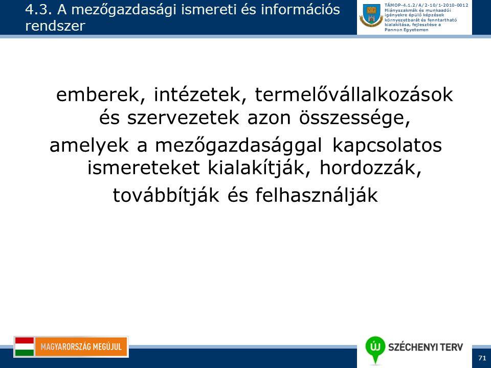 4.3. A mezőgazdasági ismereti és információs rendszer