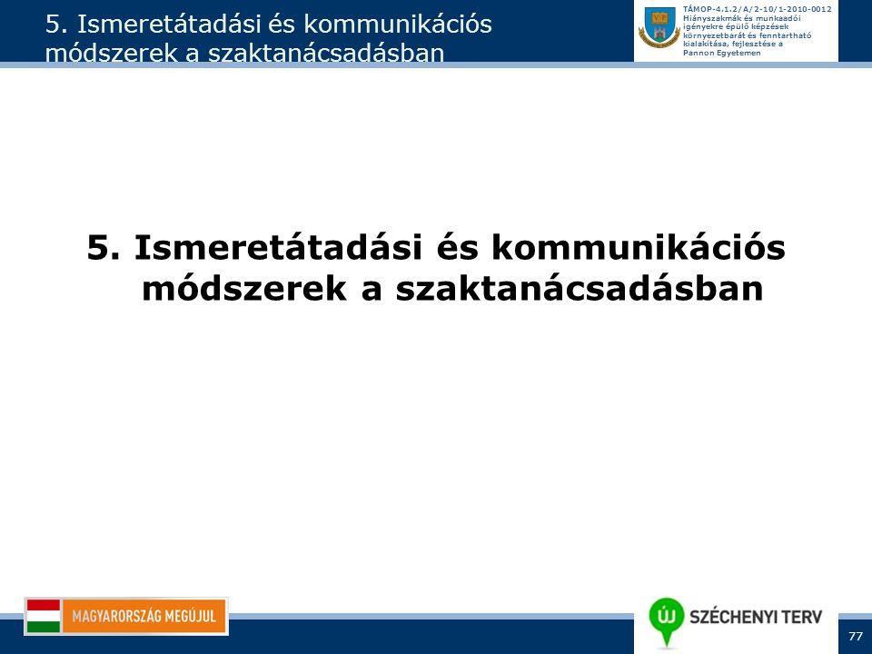5. Ismeretátadási és kommunikációs módszerek a szaktanácsadásban