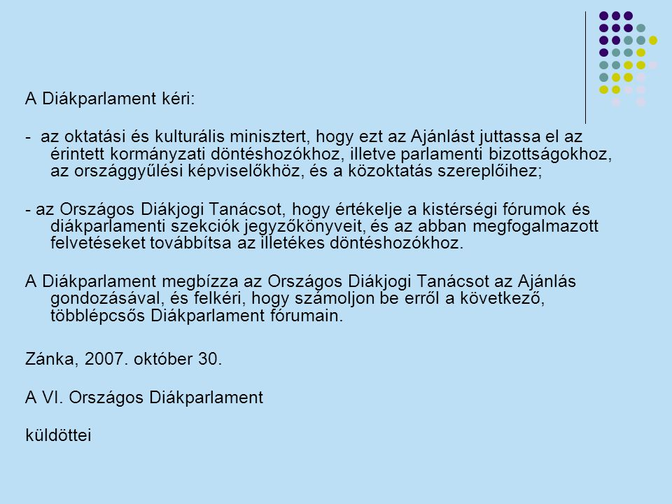 A Diákparlament kéri: