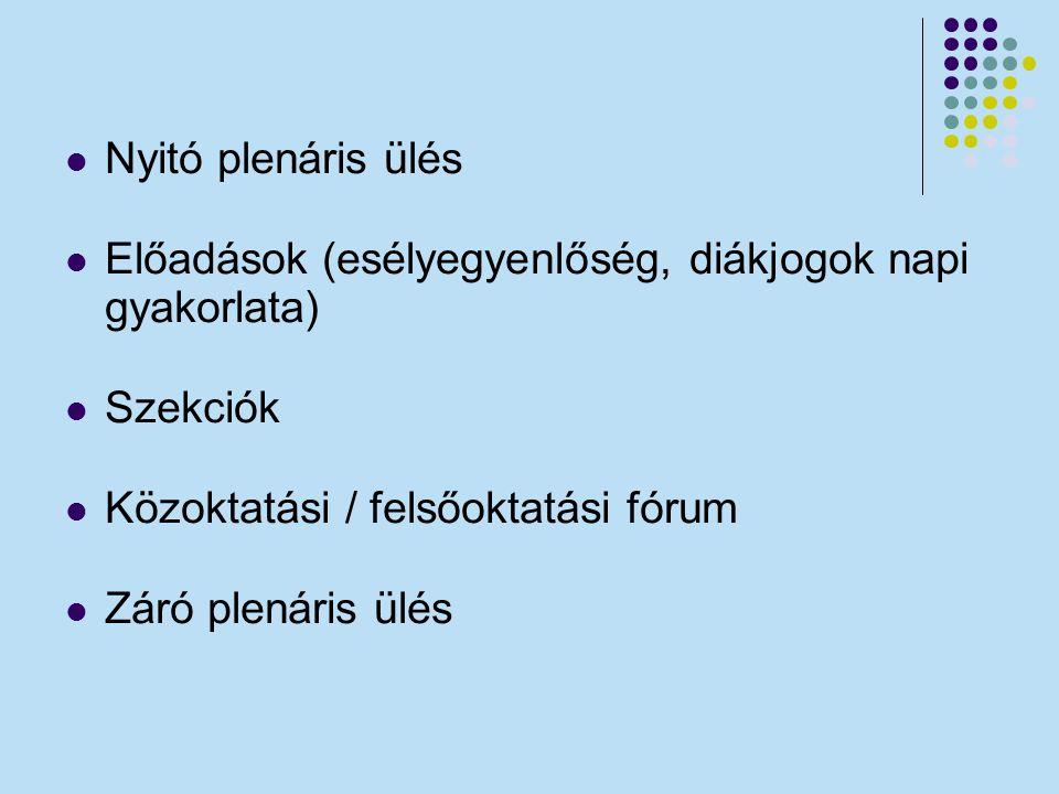 Nyitó plenáris ülés Előadások (esélyegyenlőség, diákjogok napi gyakorlata) Szekciók. Közoktatási / felsőoktatási fórum.