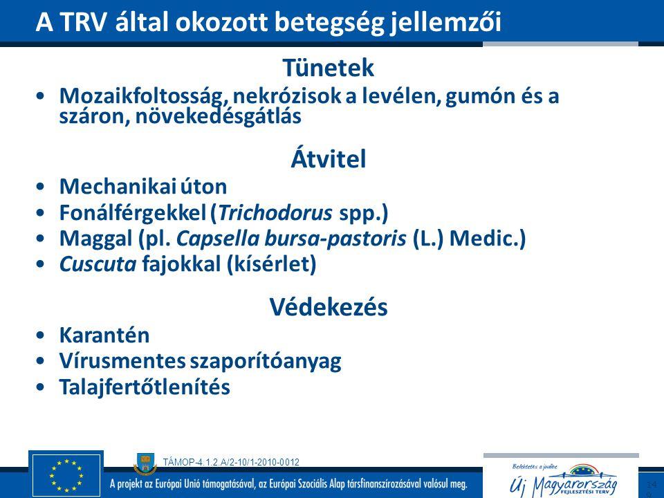 A TRV által okozott betegség jellemzői