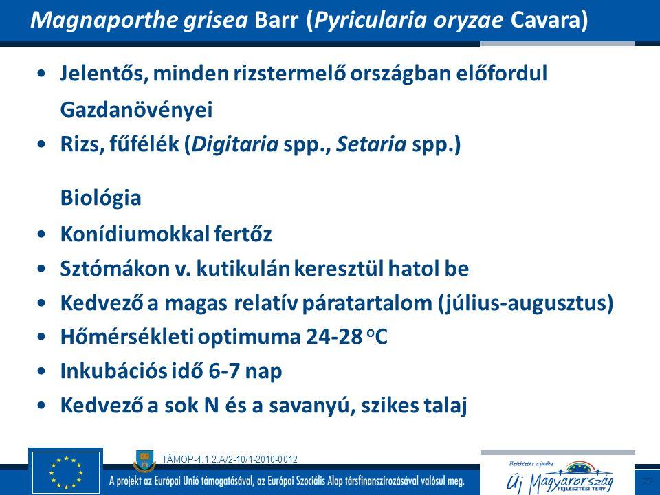 Biológia Magnaporthe grisea Barr (Pyricularia oryzae Cavara)