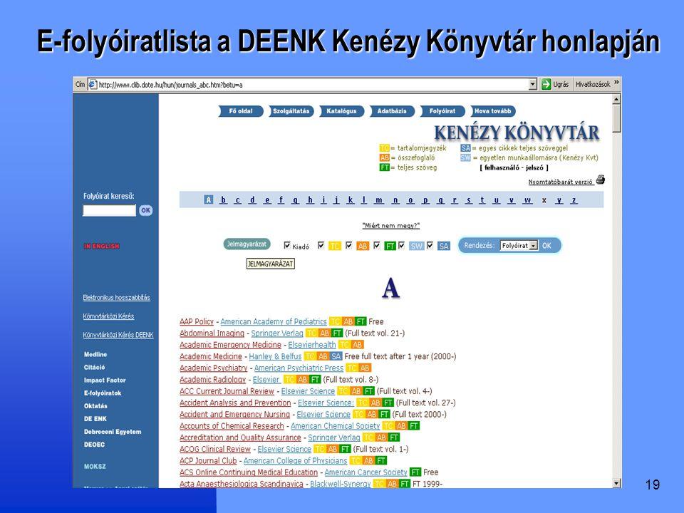 E-folyóiratlista a DEENK Kenézy Könyvtár honlapján