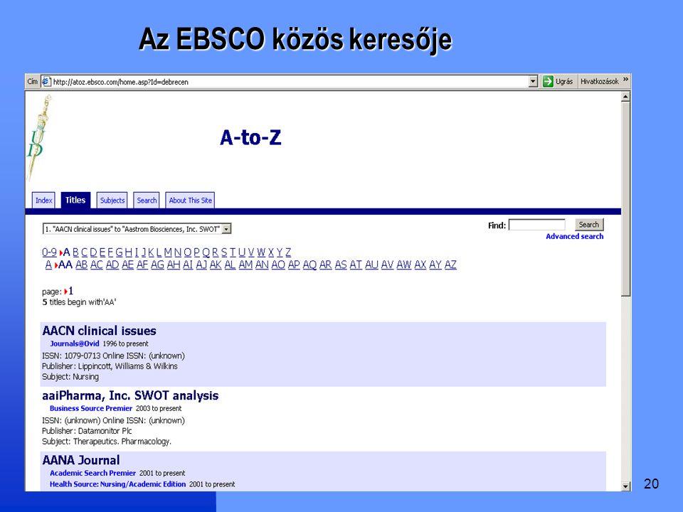 Az EBSCO közös keresője
