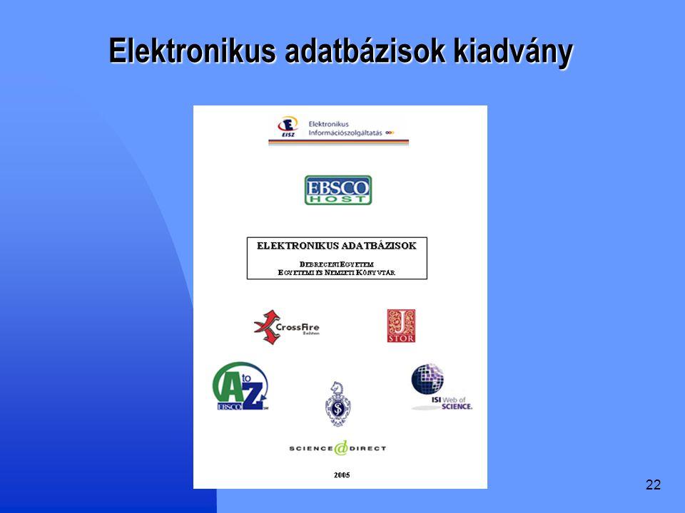 Elektronikus adatbázisok kiadvány