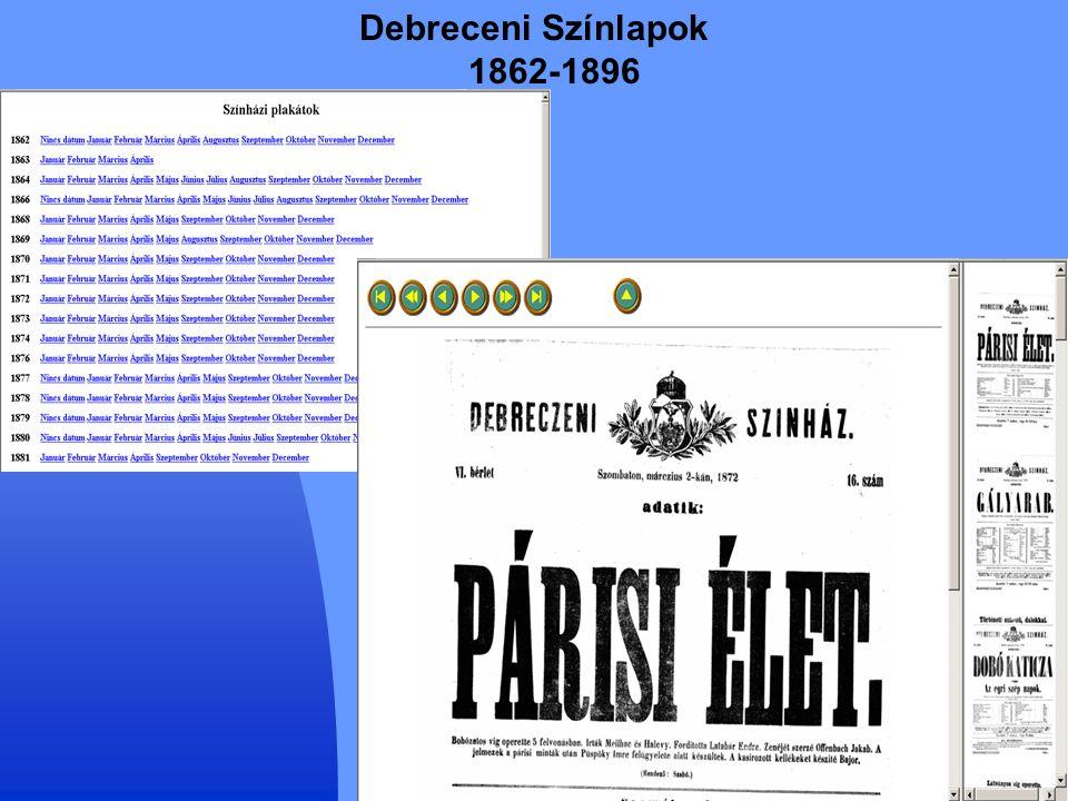 Debreceni Színlapok 1862-1896
