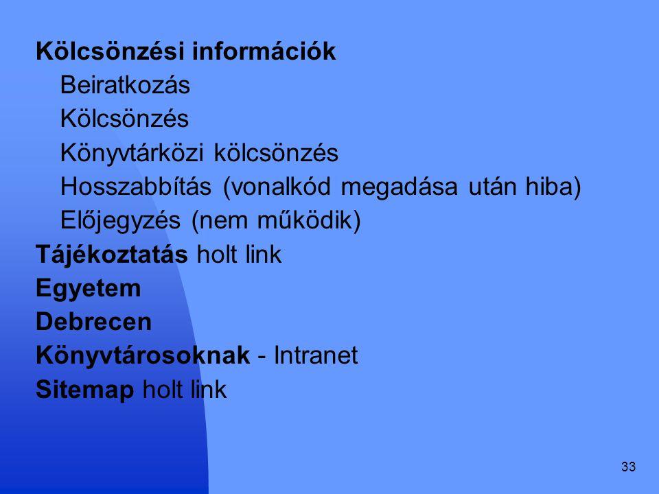 Kölcsönzési információk