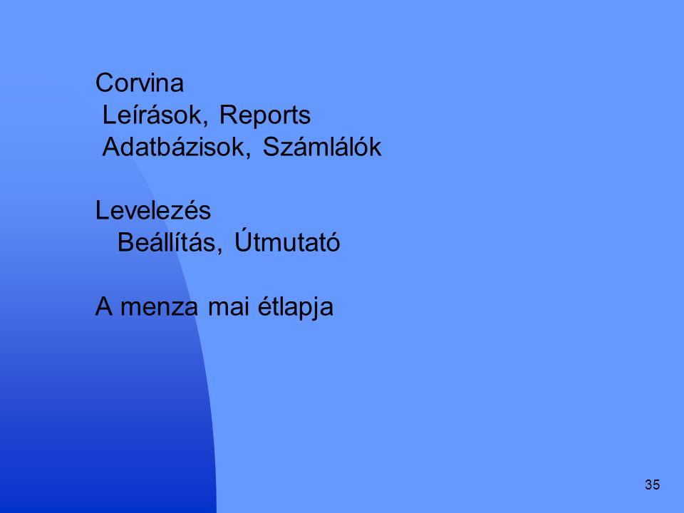 Corvina Leírások, Reports Adatbázisok, Számlálók Levelezés Beállítás, Útmutató A menza mai étlapja