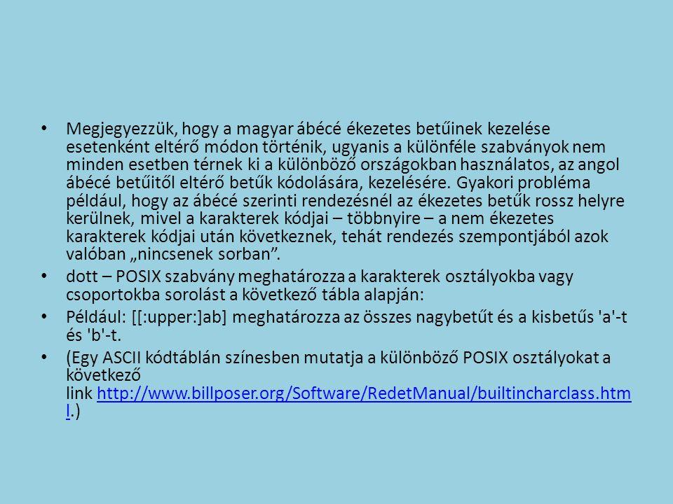 """Megjegyezzük, hogy a magyar ábécé ékezetes betűinek kezelése esetenként eltérő módon történik, ugyanis a különféle szabványok nem minden esetben térnek ki a különböző országokban használatos, az angol ábécé betűitől eltérő betűk kódolására, kezelésére. Gyakori probléma például, hogy az ábécé szerinti rendezésnél az ékezetes betűk rossz helyre kerülnek, mivel a karakterek kódjai – többnyire – a nem ékezetes karakterek kódjai után következnek, tehát rendezés szempontjából azok valóban """"nincsenek sorban ."""