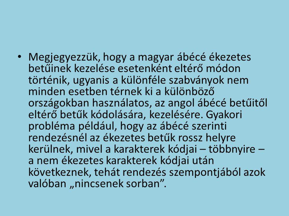 Megjegyezzük, hogy a magyar ábécé ékezetes betűinek kezelése esetenként eltérő módon történik, ugyanis a különféle szabványok nem minden esetben térnek ki a különböző országokban használatos, az angol ábécé betűitől eltérő betűk kódolására, kezelésére.