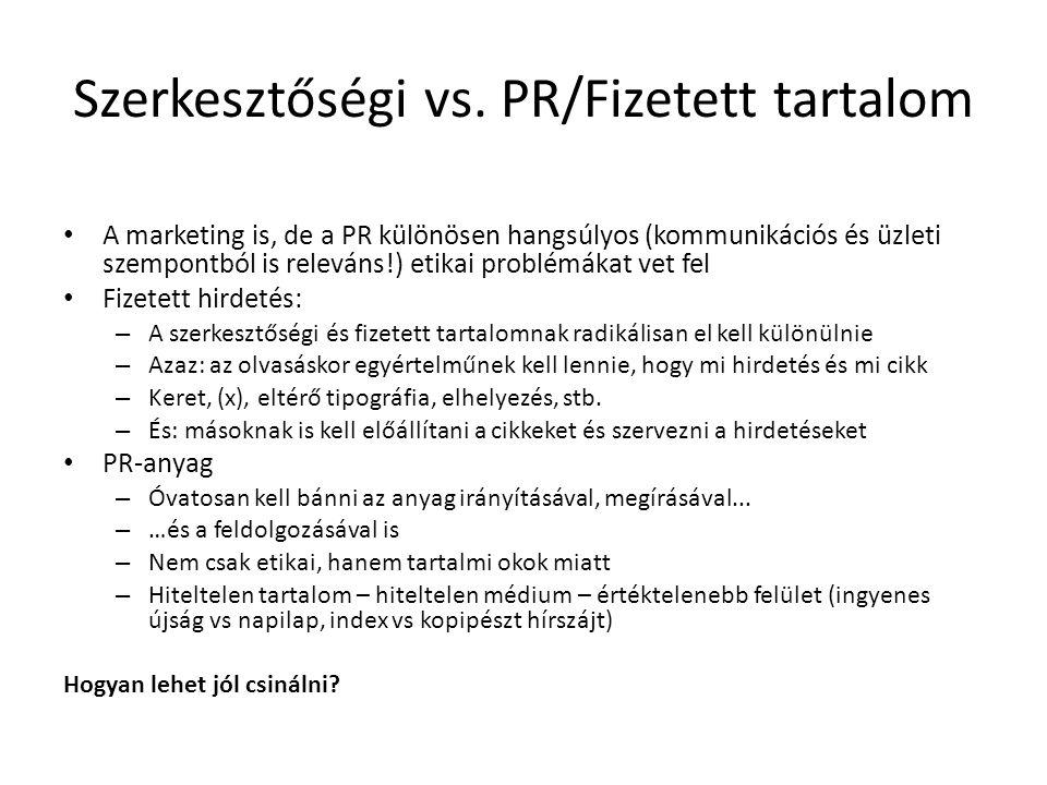 Szerkesztőségi vs. PR/Fizetett tartalom