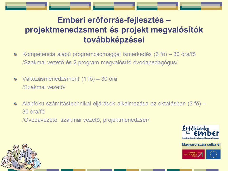 Emberi erőforrás-fejlesztés – projektmenedzsment és projekt megvalósítók továbbképzései