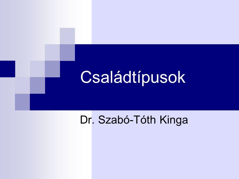 Családtípusok Dr. Szabó-Tóth Kinga