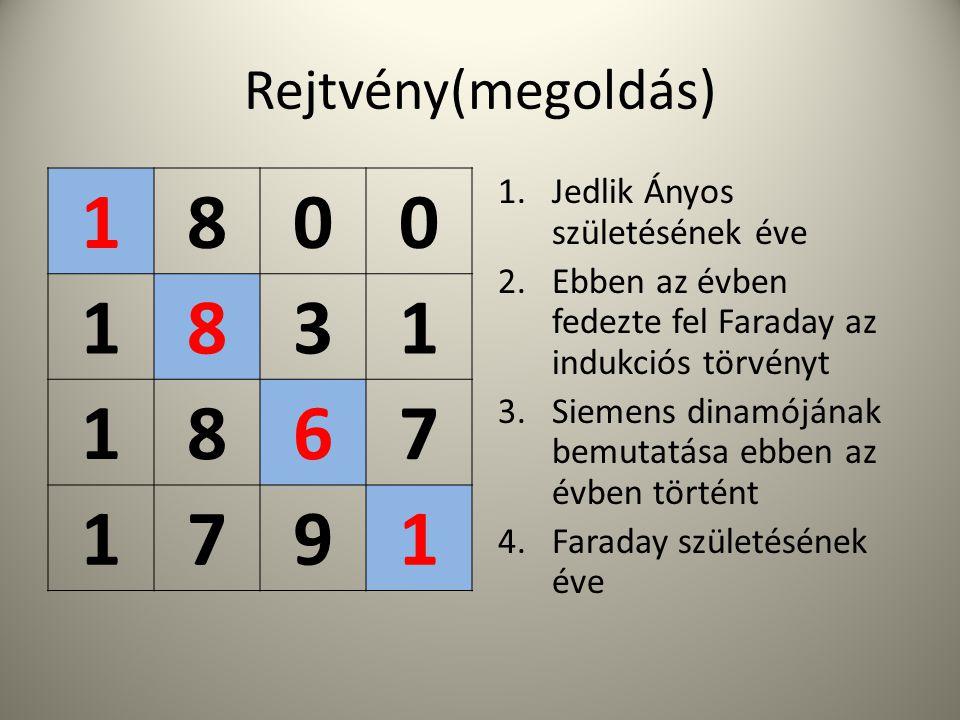 1 8 3 6 7 9 Rejtvény(megoldás) Jedlik Ányos születésének éve
