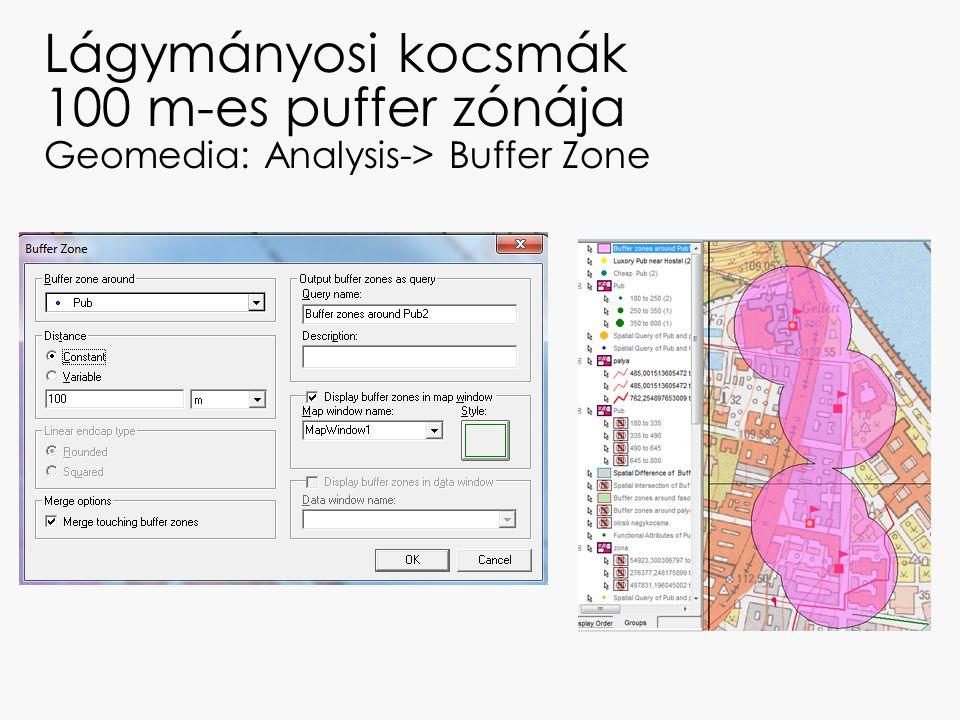 Lágymányosi kocsmák 100 m-es puffer zónája Geomedia: Analysis-> Buffer Zone