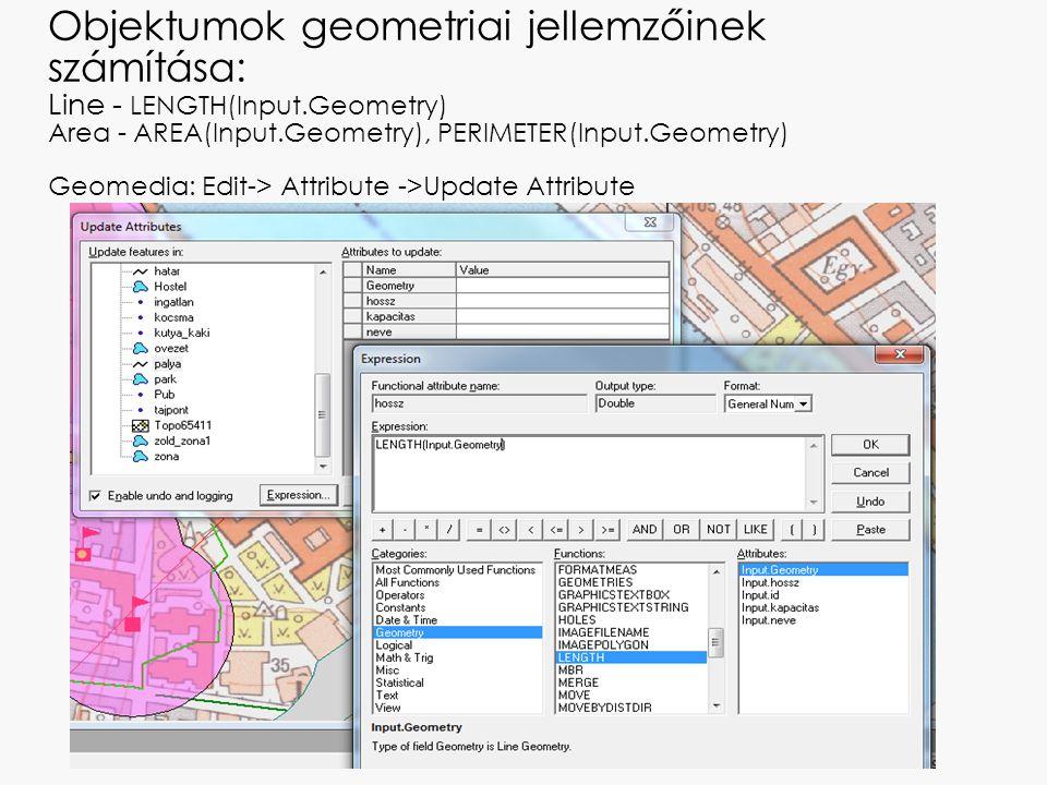 Objektumok geometriai jellemzőinek számítása: Line - LENGTH(Input
