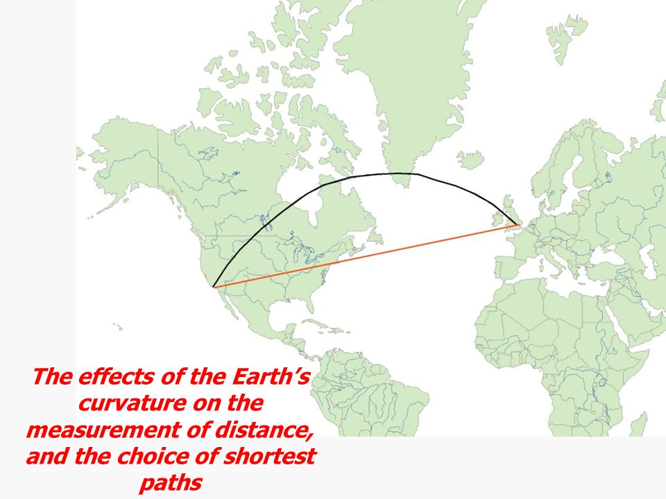 The effects of the Earth's curvature on the measurement of distance, and the choice of shortest paths