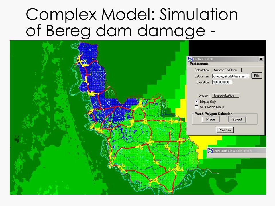 Complex Model: Simulation of Bereg dam damage - 107m water level
