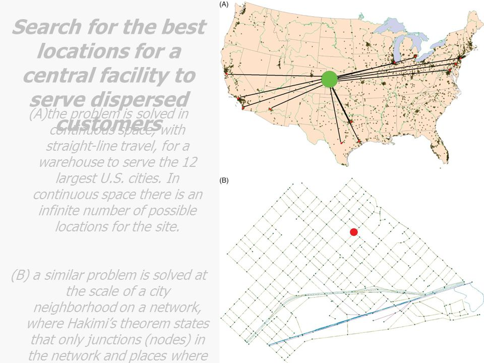 Search for the best locations for a central facility to serve dispersed customers