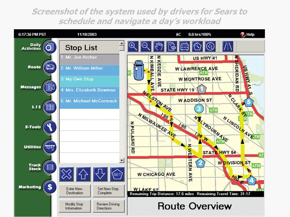 Screenshot of the system used by drivers for Sears to schedule and navigate a day's workload