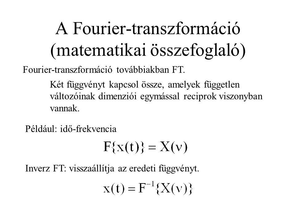 A Fourier-transzformáció (matematikai összefoglaló)