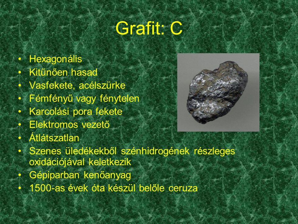 Grafit: C Hexagonális Kitűnően hasad Vasfekete, acélszürke