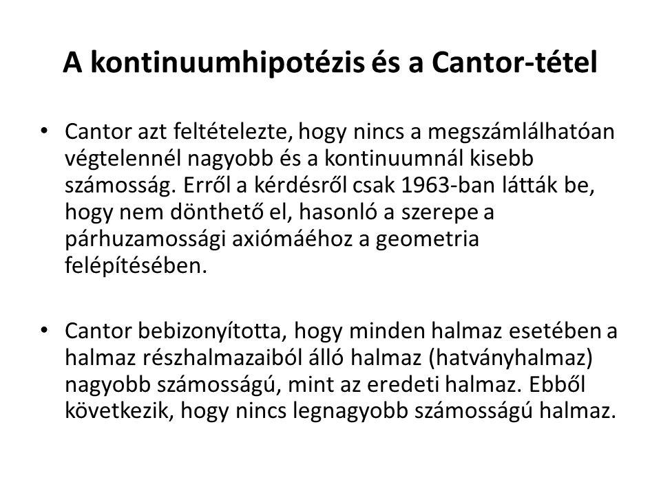 A kontinuumhipotézis és a Cantor-tétel