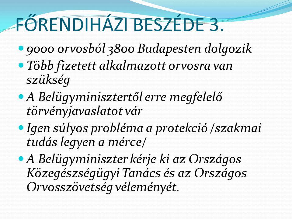 FŐRENDIHÁZI BESZÉDE 3. 9000 orvosból 3800 Budapesten dolgozik