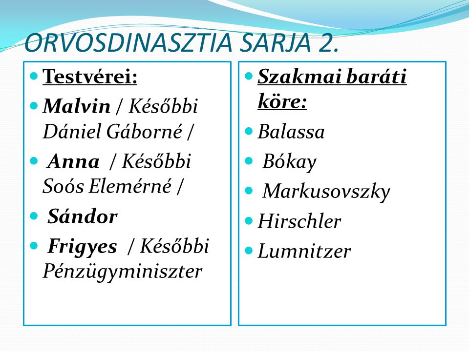 ORVOSDINASZTIA SARJA 2. Testvérei: Malvin / Későbbi Dániel Gáborné /