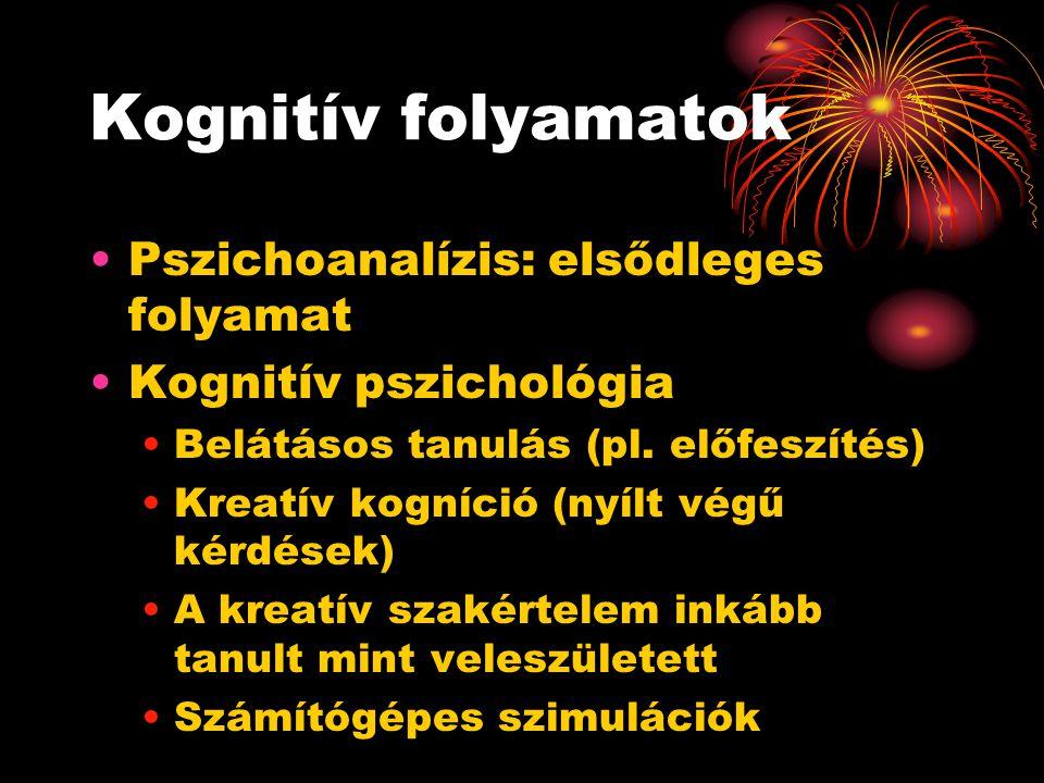 Kognitív folyamatok Pszichoanalízis: elsődleges folyamat