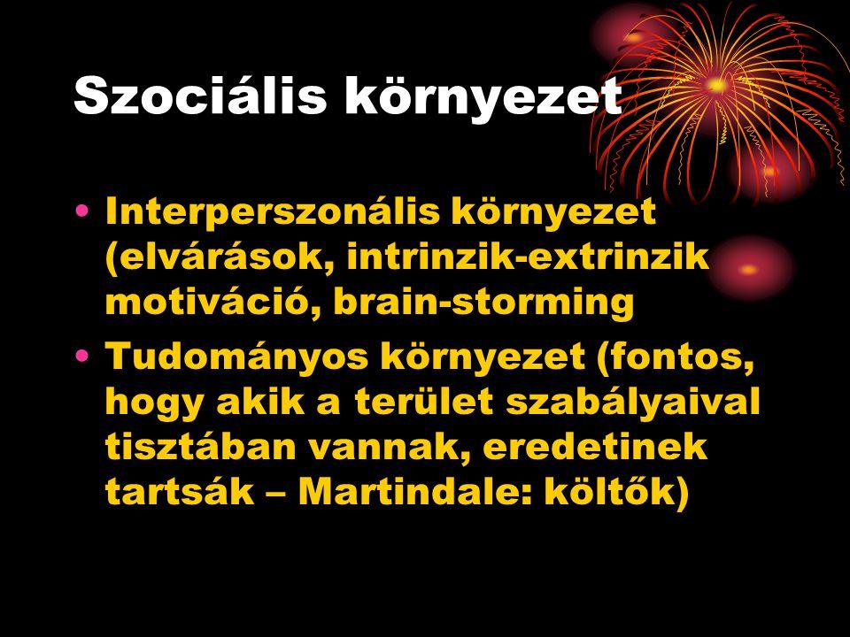 Szociális környezet Interperszonális környezet (elvárások, intrinzik-extrinzik motiváció, brain-storming.