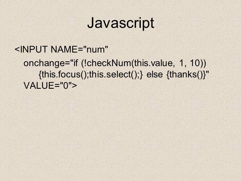 Javascript <INPUT NAME= num