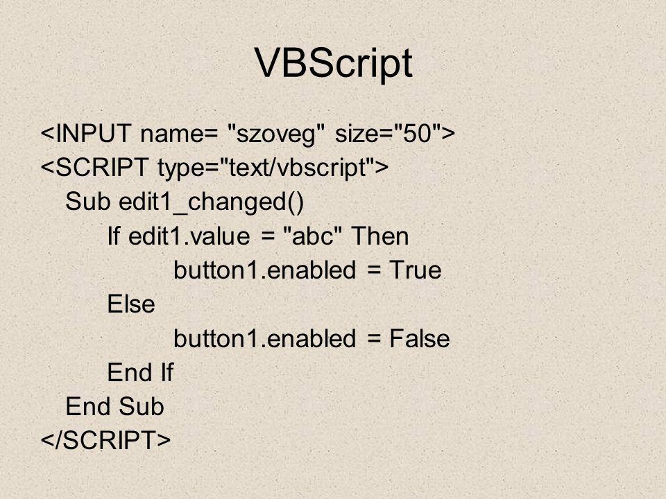VBScript <INPUT name= szoveg size= 50 >