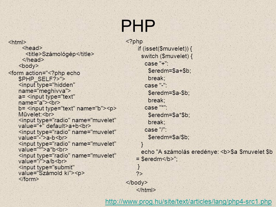 PHP http://www.prog.hu/site/text/articles/lang/php4-src1.php