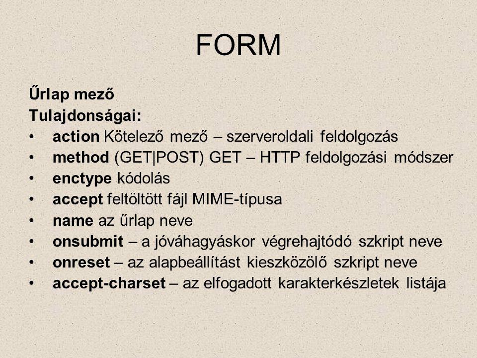 FORM Űrlap mező Tulajdonságai: