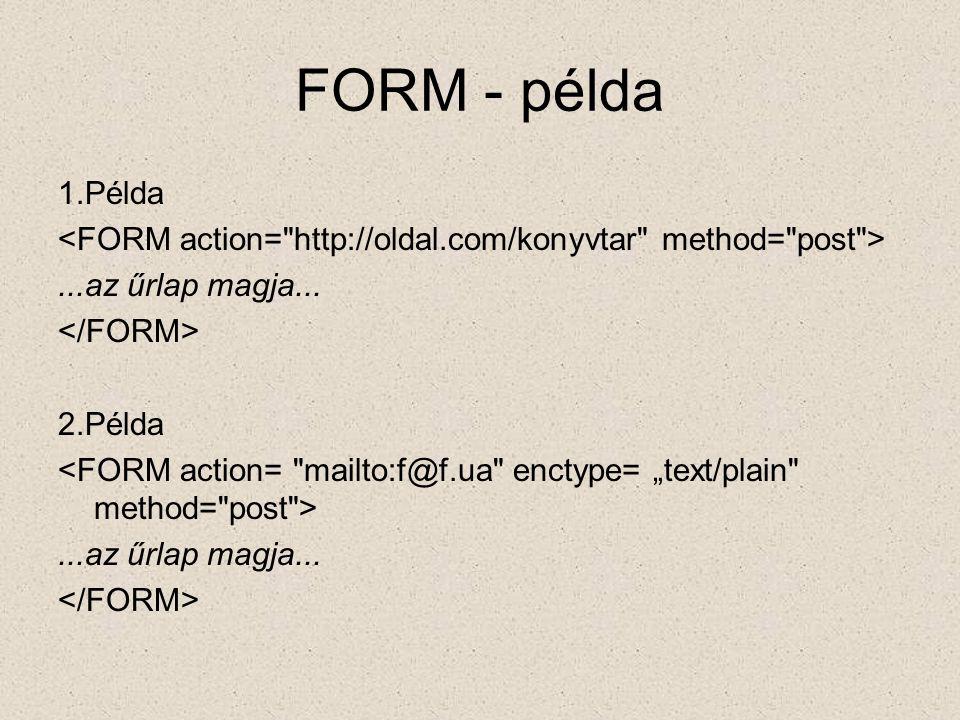 FORM - példa 1.Példa. <FORM action= http://oldal.com/konyvtar method= post > ...az űrlap magja...