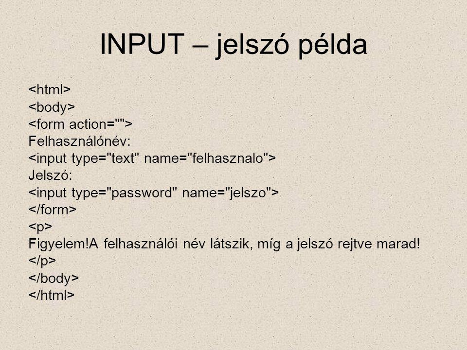 INPUT – jelszó példa <html> <body> <form action= >