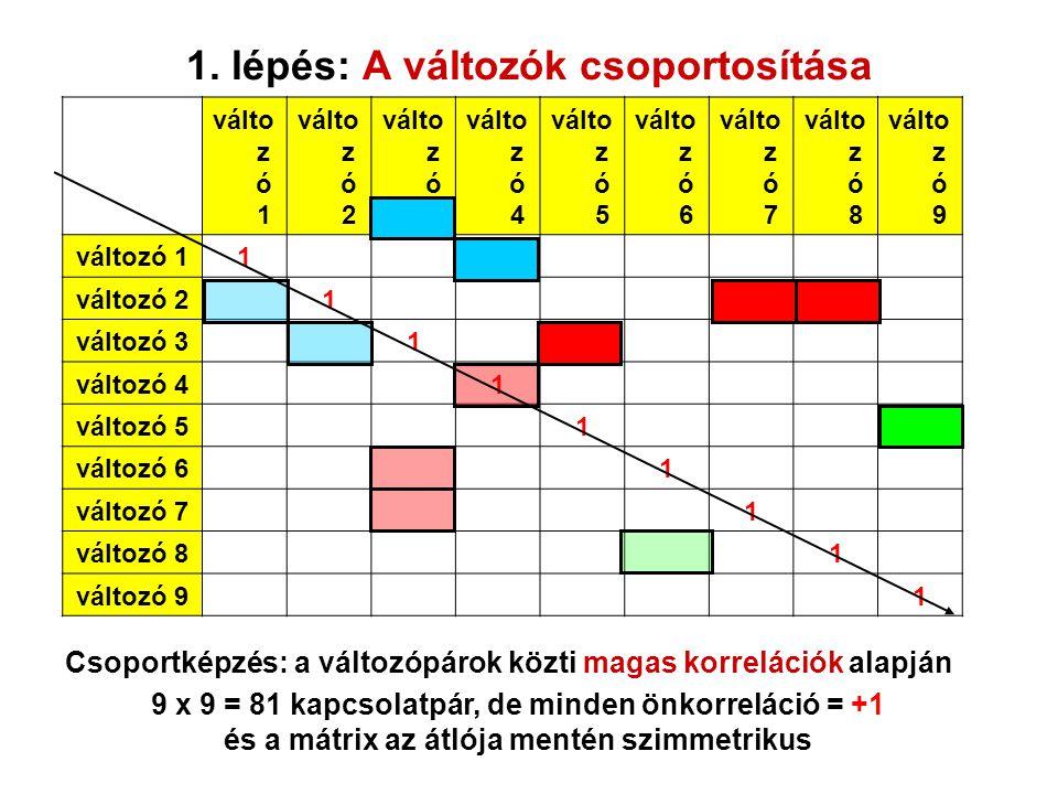 1. lépés: A változók csoportosítása