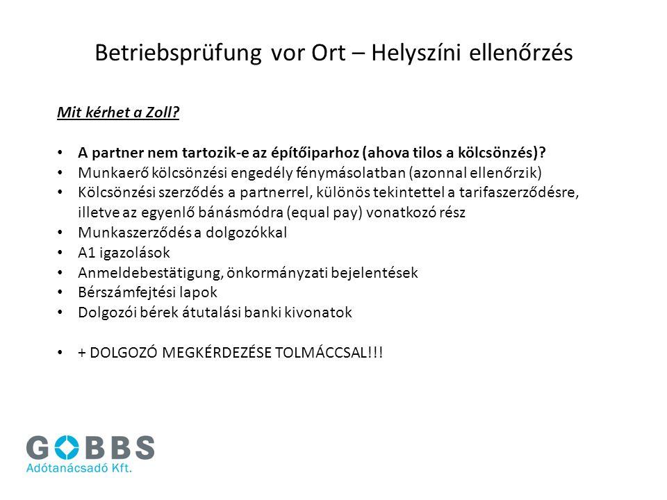 Betriebsprüfung vor Ort – Helyszíni ellenőrzés