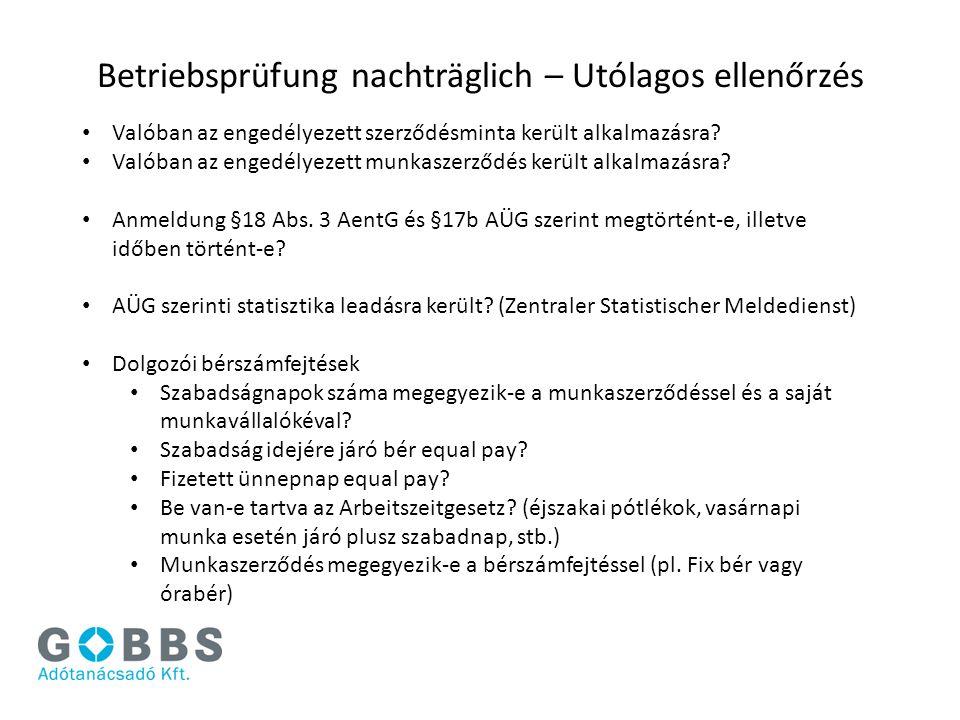 Betriebsprüfung nachträglich – Utólagos ellenőrzés