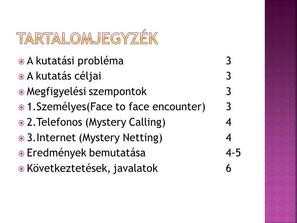 Tartalomjegyzék A kutatási probléma 3 A kutatás céljai 3