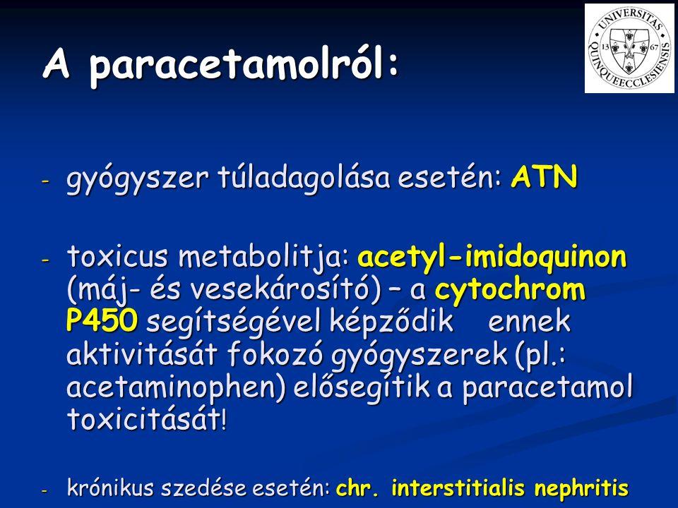 A paracetamolról: gyógyszer túladagolása esetén: ATN