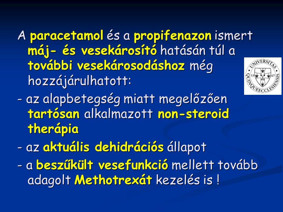 A paracetamol és a propifenazon ismert máj- és vesekárosító hatásán túl a további vesekárosodáshoz még hozzájárulhatott: