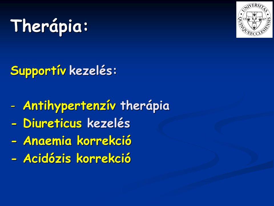 Therápia: Supportív kezelés: - Antihypertenzív therápia