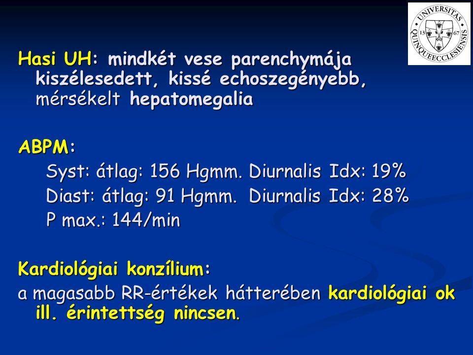 Hasi UH: mindkét vese parenchymája kiszélesedett, kissé echoszegényebb, mérsékelt hepatomegalia