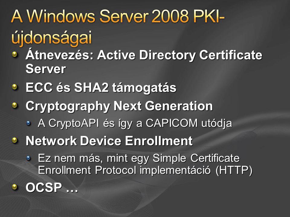 A Windows Server 2008 PKI-újdonságai