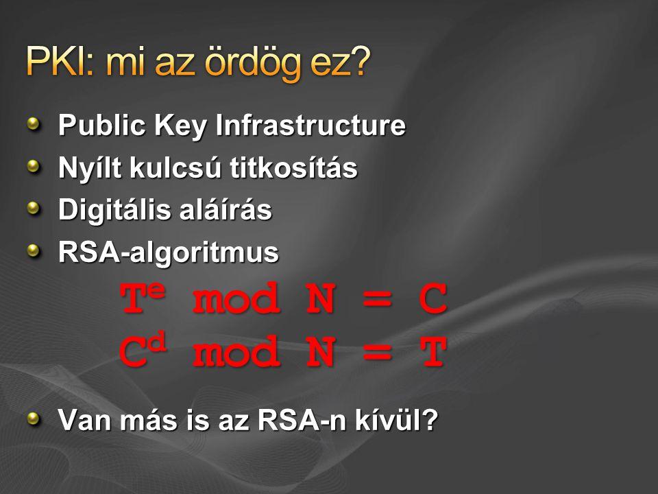 Te mod N = C Cd mod N = T PKI: mi az ördög ez