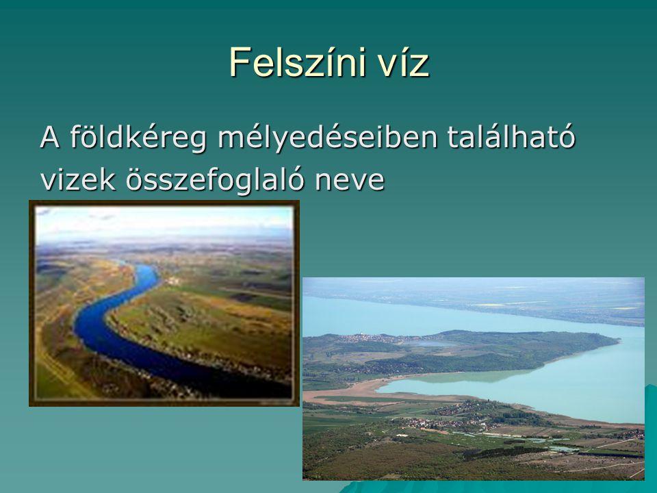 Felszíni víz A földkéreg mélyedéseiben található
