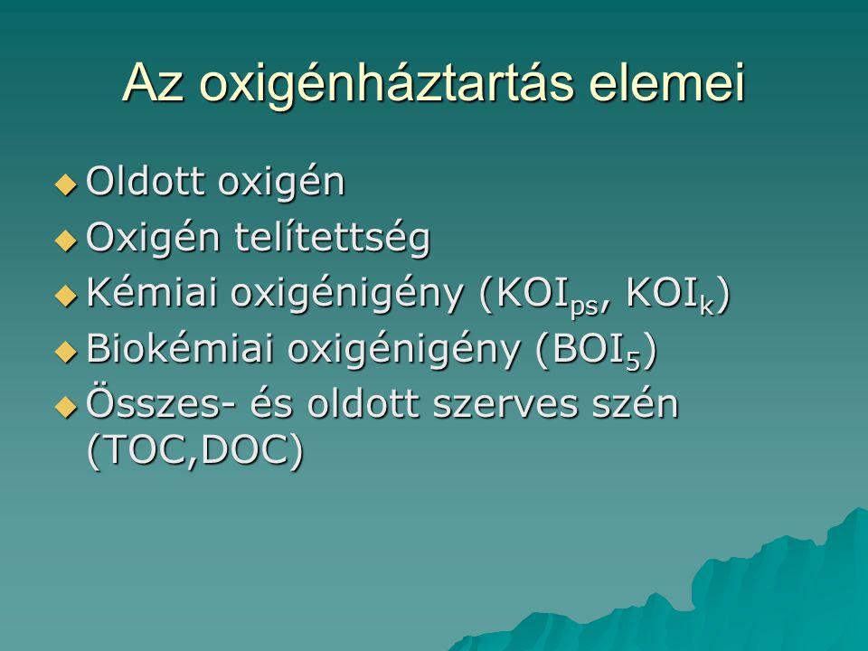 Az oxigénháztartás elemei